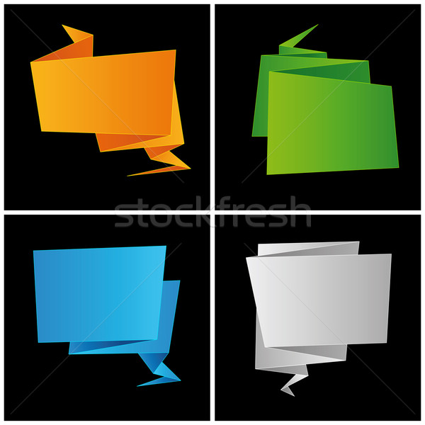 Origami, folded paper, set speech bubble Stock photo © Ecelop