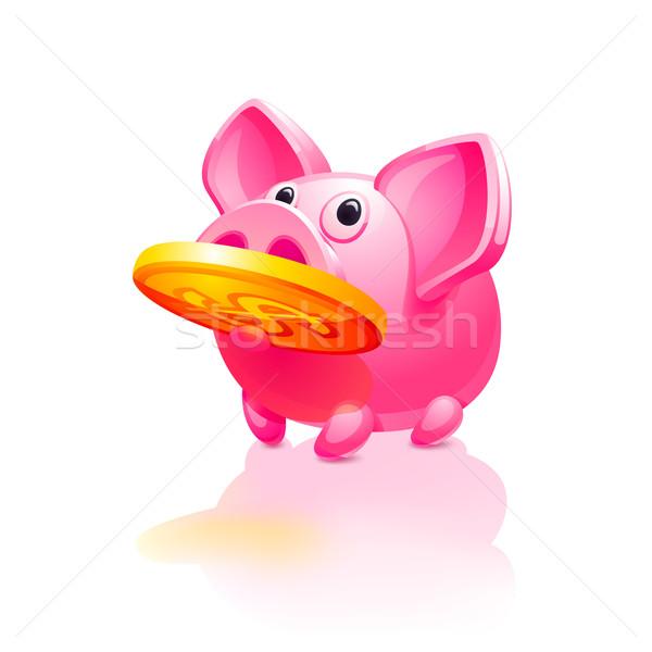 Rosa piggy bank dinheiro assinar brinquedo ouro Foto stock © Ecelop