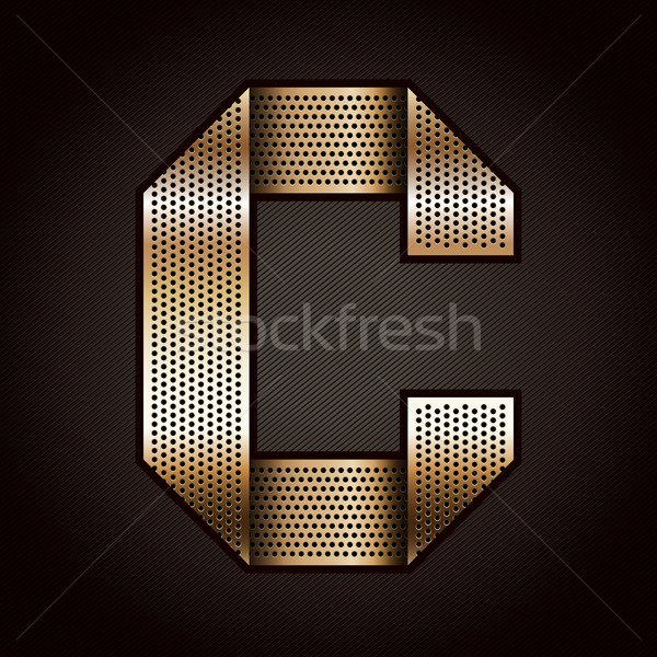 Stock photo: Letter metal gold ribbon - C