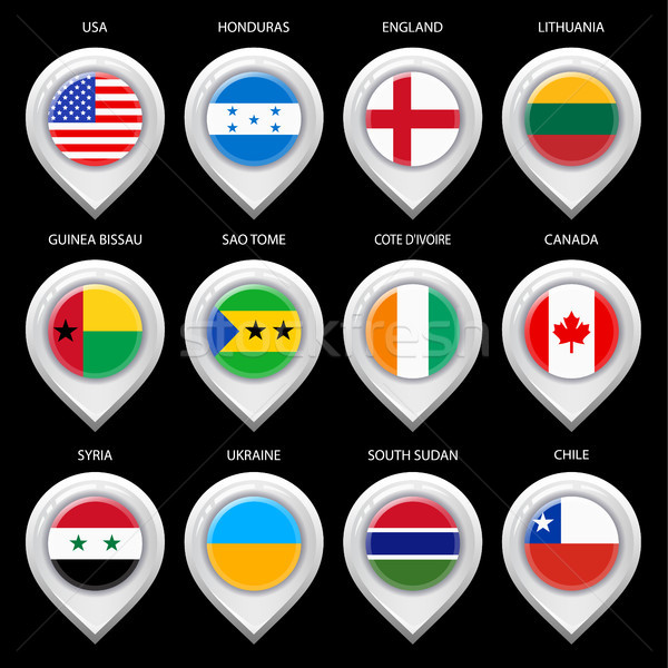 Stock photo: Map marker with flag-set eghth
