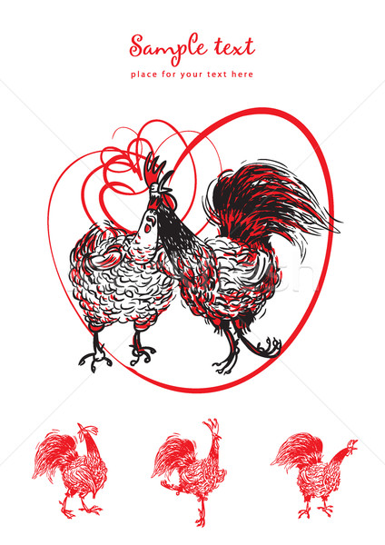 Stock photo: Love the Cock and Hen vector