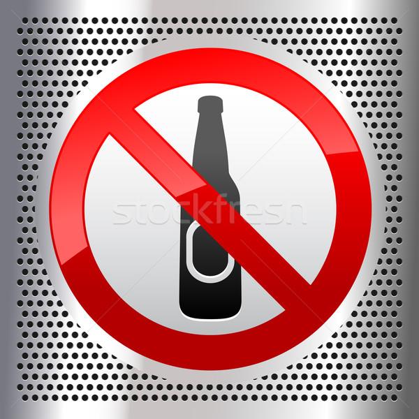 Szimbólumok sör szimbólum fémes rozsdamentes acél lap Stock fotó © Ecelop