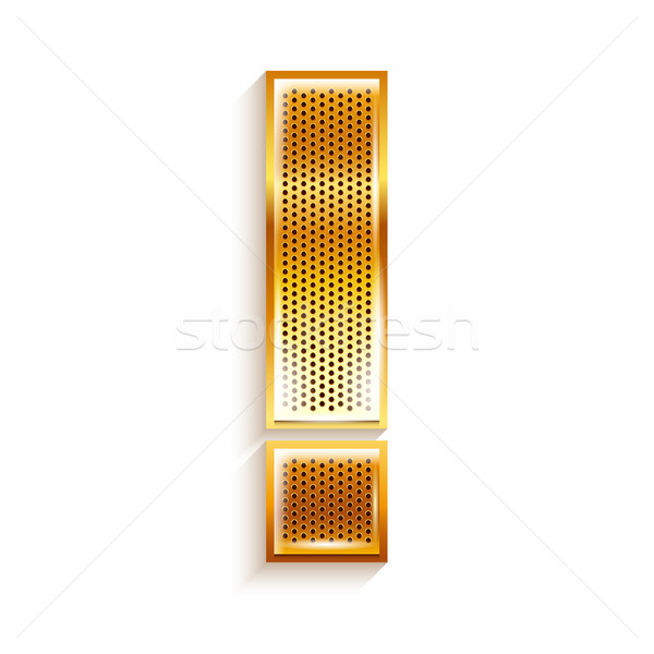 Letter metal gold ribbon Exclamation mark Stock photo © Ecelop