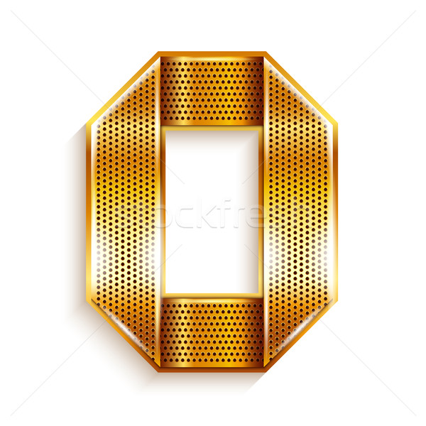 Number metal gold ribbon - 0 - zero Stock photo © Ecelop