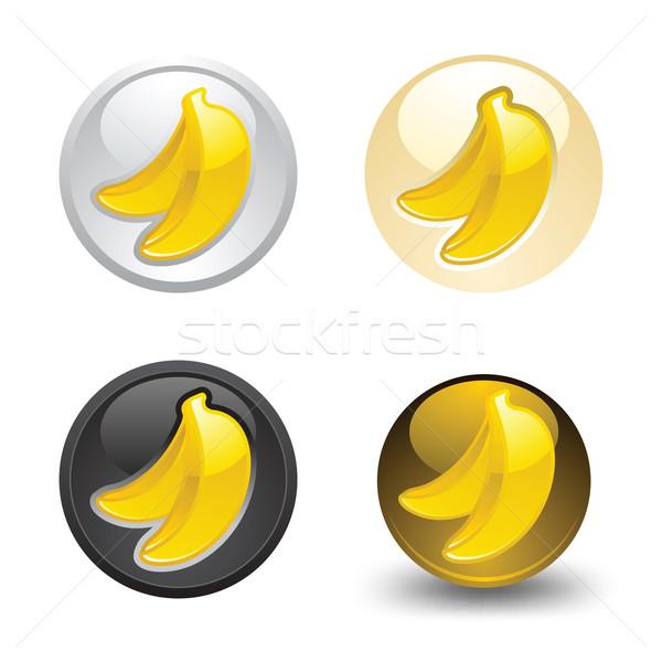 Banane bouton web 20 icônes Photo stock © Ecelop
