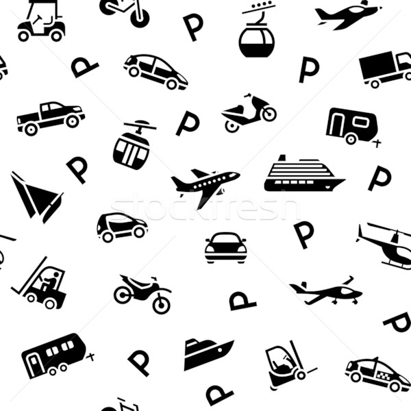 Stock photo: Seamless backdrop transport icons, wrapping paper