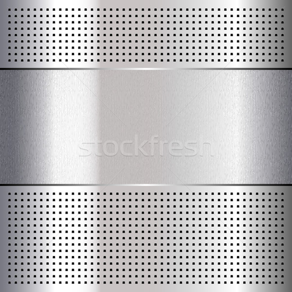 Metallic perforated chromium steel sheet, 10eps Stock photo © Ecelop