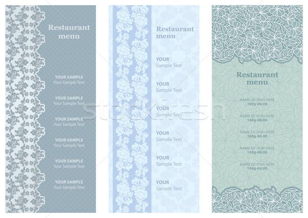 ストックフォト: レストラン · メニュー · 花 · 背景 · ファブリック · シルエット