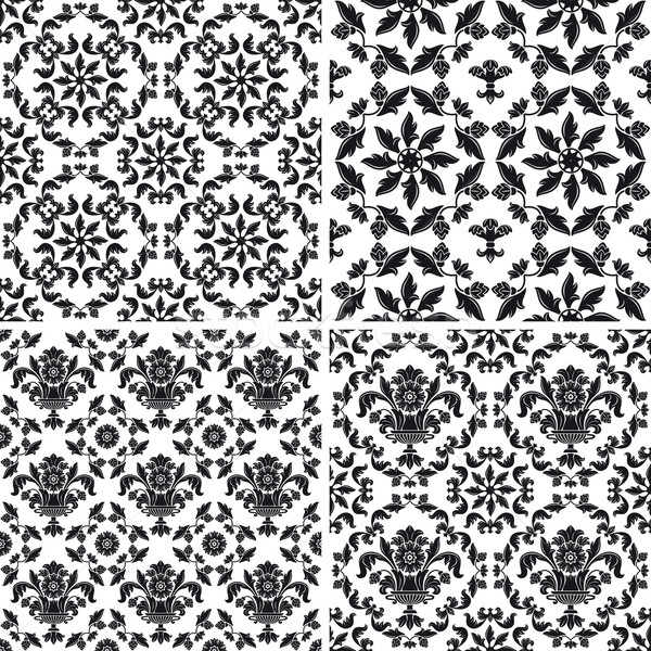 tapete muster floral schwarz wei kunst vektor grafiken ecelop 1240657 stockfresh. Black Bedroom Furniture Sets. Home Design Ideas