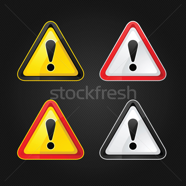 Hazard warning attention sign set on a metal surface Stock photo © Ecelop