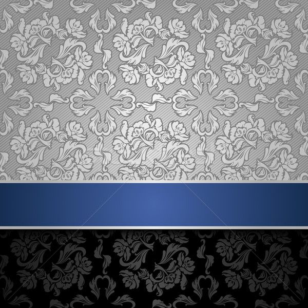 Stock photo: seamless decorative background silver with a blue ribbon