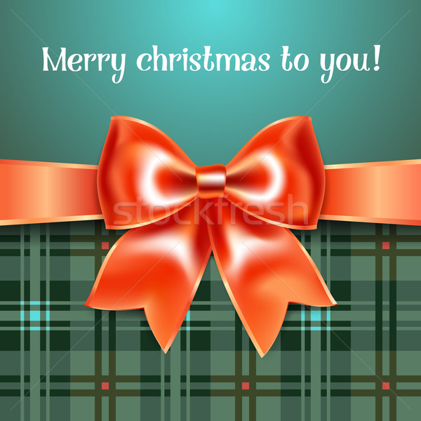 Merry Christmas background with red ribbon bow, 10eps Stock photo © Ecelop