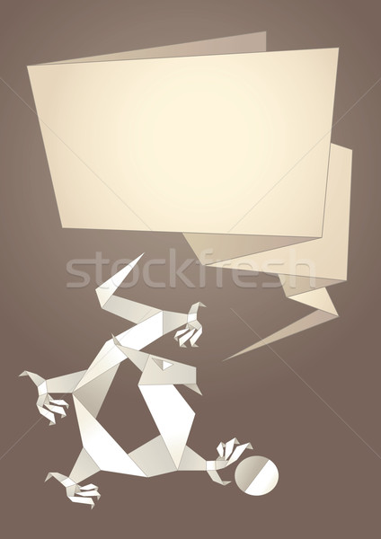 Dragon Origami Paper Speech Bubble Vector Vector Illustration