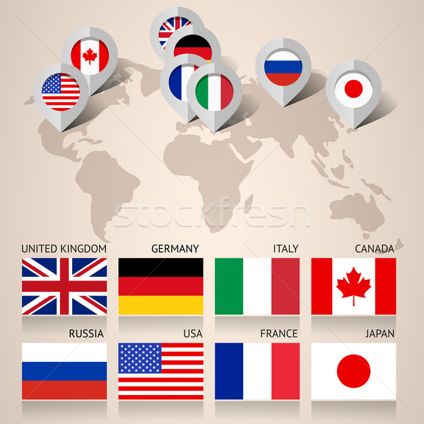 Set of G8 flags with map Stock photo © Ecelop