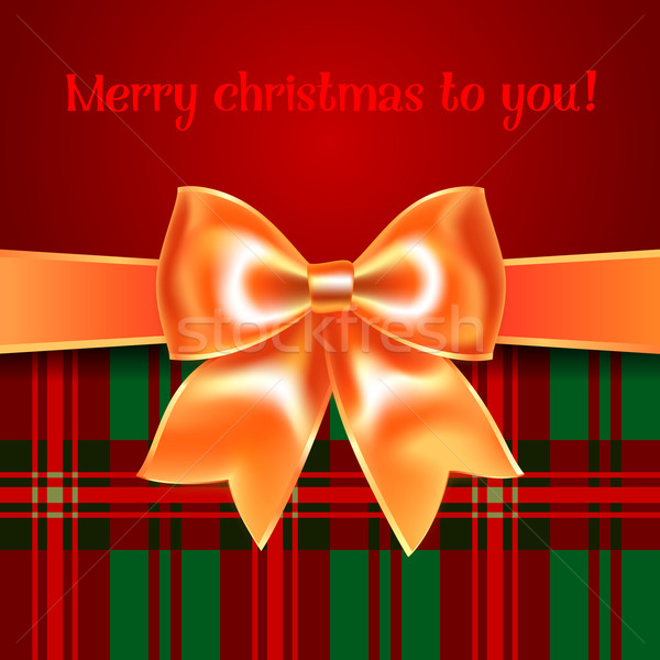 Merry Christmas background with yellow ribbon bow, 10eps Stock photo © Ecelop