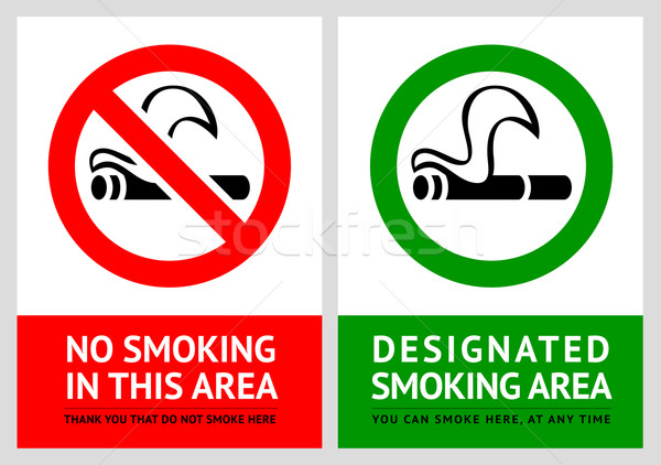 No smoking and Smoking area labels - Set 5 Stock photo © Ecelop