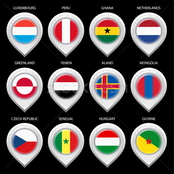 Map marker with flag-set fifth Stock photo © Ecelop