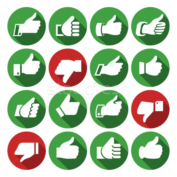 Zestaw ikona przyciski ręce cień Zdjęcia stock © Ecelop