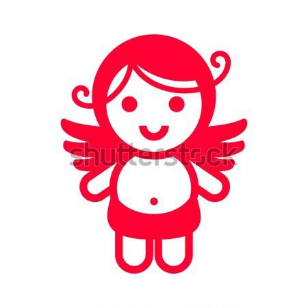 Színes matrica angyal ibolya mosoly szeretet Stock fotó © Ecelop