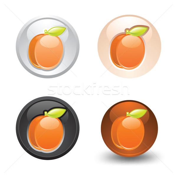 Abricot bouton web 20 icônes Photo stock © Ecelop