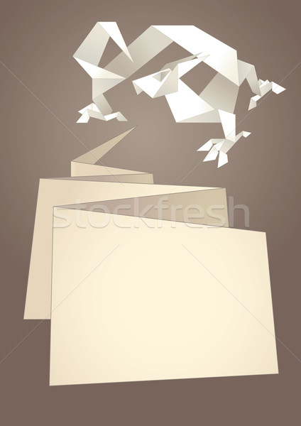 Paper speech bubble, dragon origami Stock photo © Ecelop