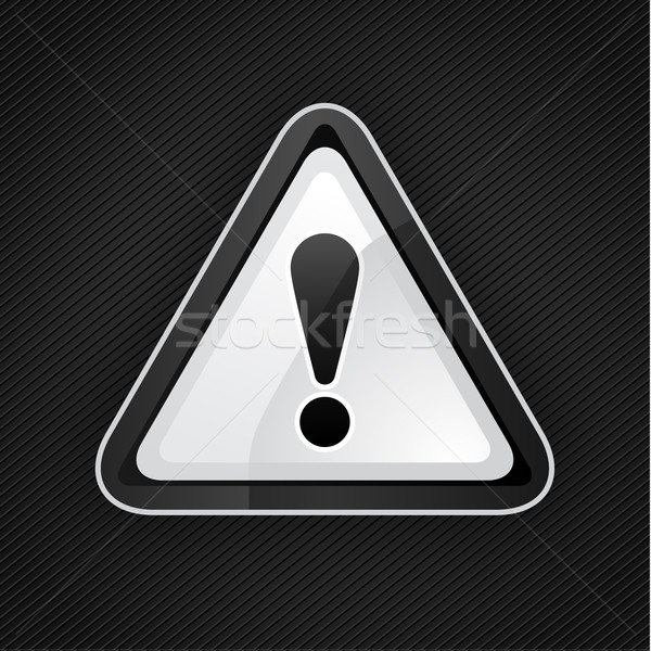 Hazard warning attention black sign on a metal surface, 10eps Stock photo © Ecelop