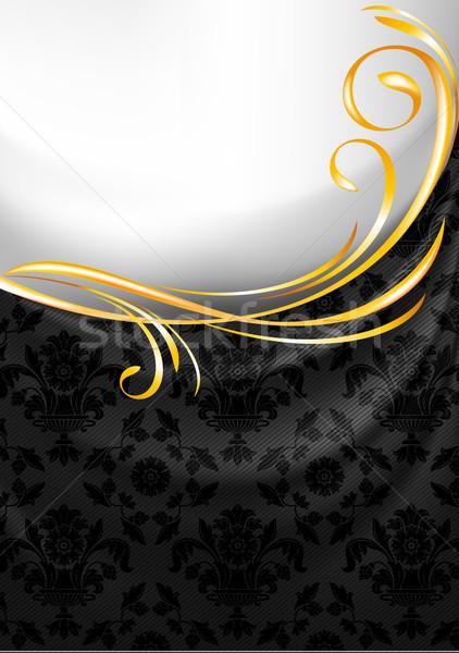 Black fabric curtain, gold vignette Stock photo © Ecelop