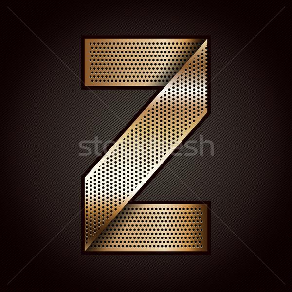 Lettre métal or ruban nombre zéro Photo stock © Ecelop
