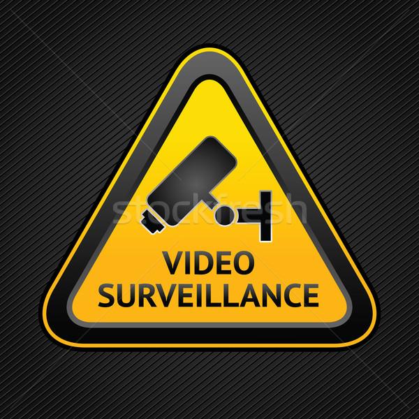 Cctv háromszög szimbólumok webes gomb kamera megfigyelés Stock fotó © Ecelop