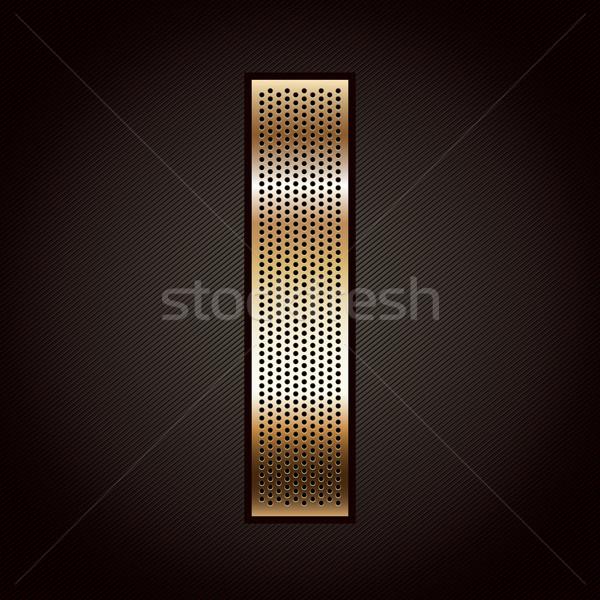 Stock photo: Letter metal gold ribbon - I