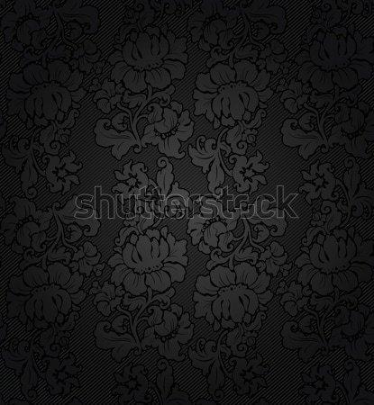 Oscuro gris flores textura tejido negro Foto stock © Ecelop