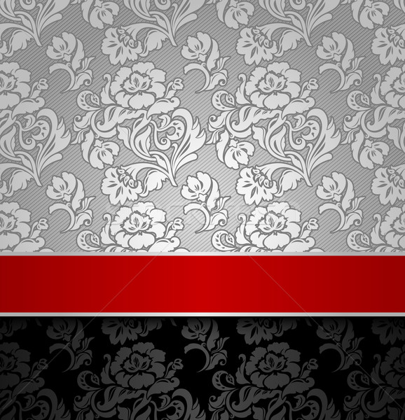 seamless decorative background silver with a red ribbon Stock photo © Ecelop