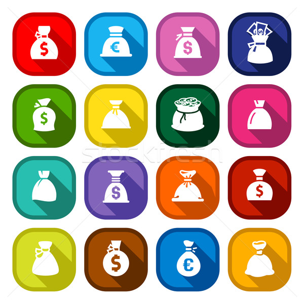 Money bags, set colored buttons Stock photo © Ecelop