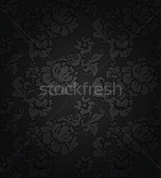 Corduroy dark background ornamental gray flowers texture fabric
