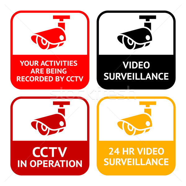 Cctv pictogram video ingesteld symbool Stockfoto © Ecelop