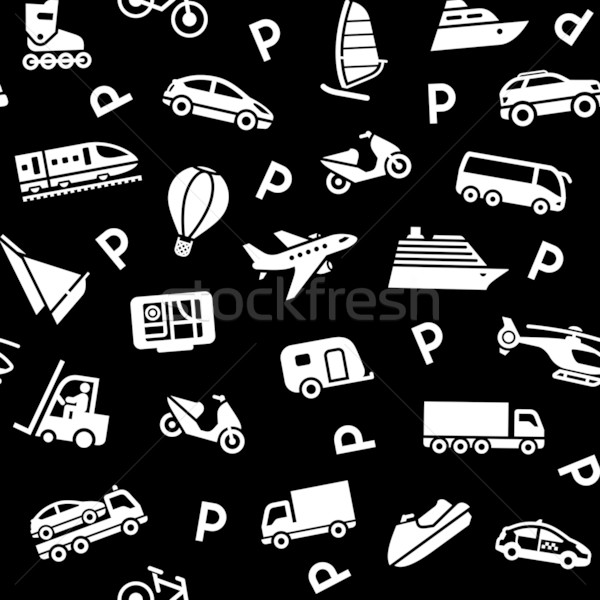 Seamless black background, white transport icons Stock photo © Ecelop