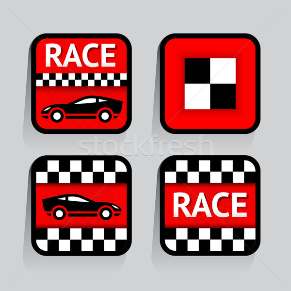 Race - set stickers square on the gray background Stock photo © Ecelop