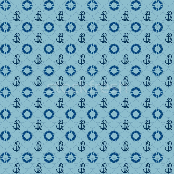 Seamless patterns, navy anchors and lifebuoy Stock photo © Ecelop