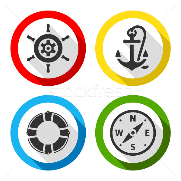 Set of travel flat color icons Stock photo © Ecelop