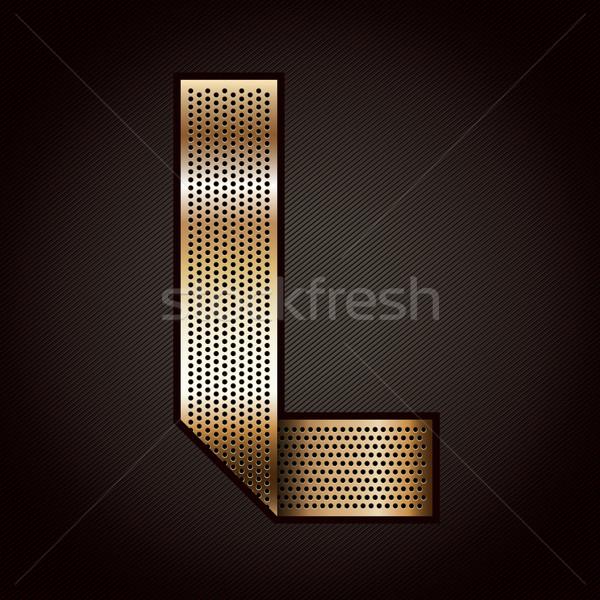 Stock photo: Letter metal gold ribbon - L