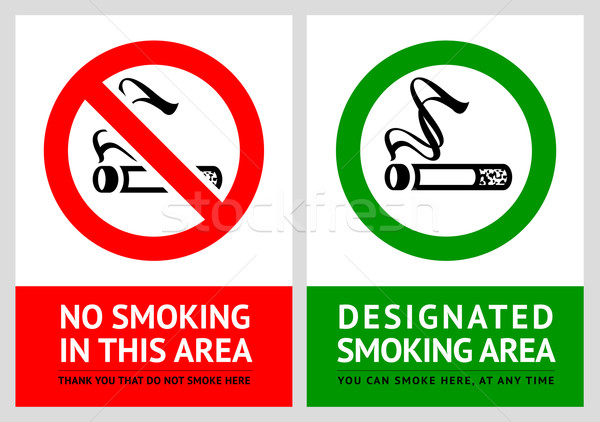 No smoking and Smoking area labels - Set 3 Stock photo © Ecelop