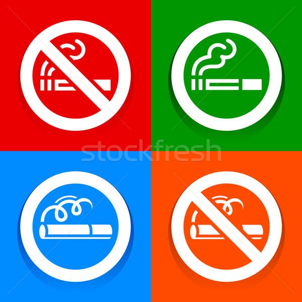 Matricák tarka dohányozni tilos felirat törvény ipar Stock fotó © Ecelop