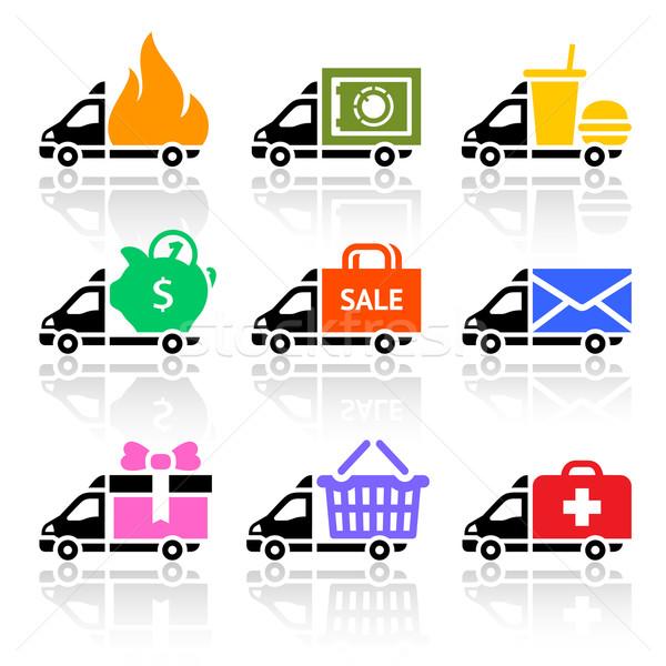 Camion di consegna colorato icone blu mail velocità Foto d'archivio © Ecelop