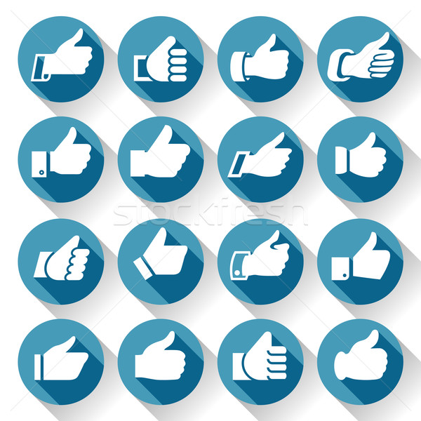 Thumbs up, set icons on round blue buttons Stock photo © Ecelop