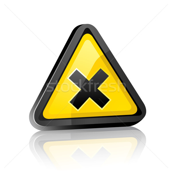 three-dimensional Hazard warning sign with irritant symbol on white background with reflection Stock photo © Ecelop