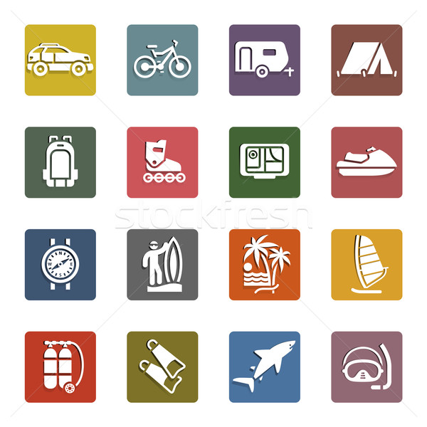 Vacation, Recreation & Travel, icons set Stock photo © Ecelop
