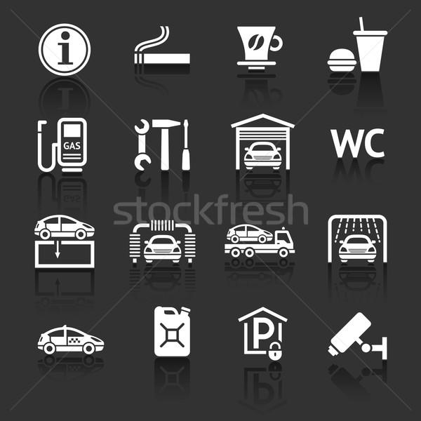 Zestaw piktogramy samochodu usług stacji benzynowej przydrożny Zdjęcia stock © Ecelop