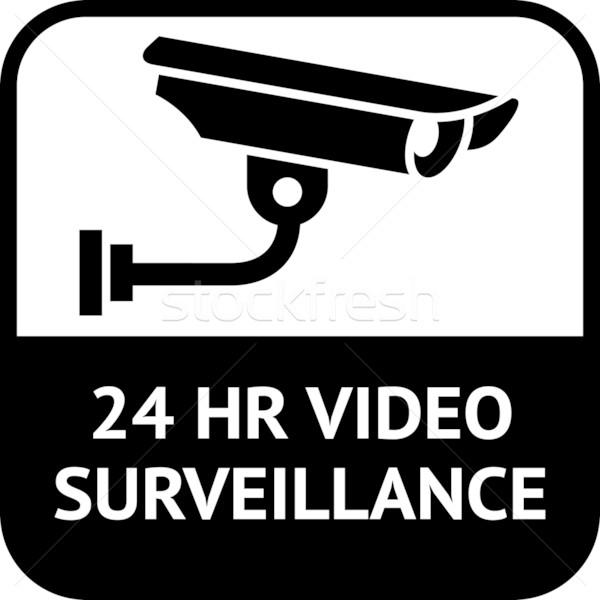 Foto stock: Cctv · símbolo · vídeo · alerta · etiqueta