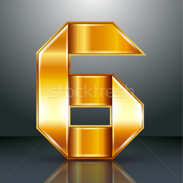 Number metal gold ribbon - 6 - six Stock photo © Ecelop