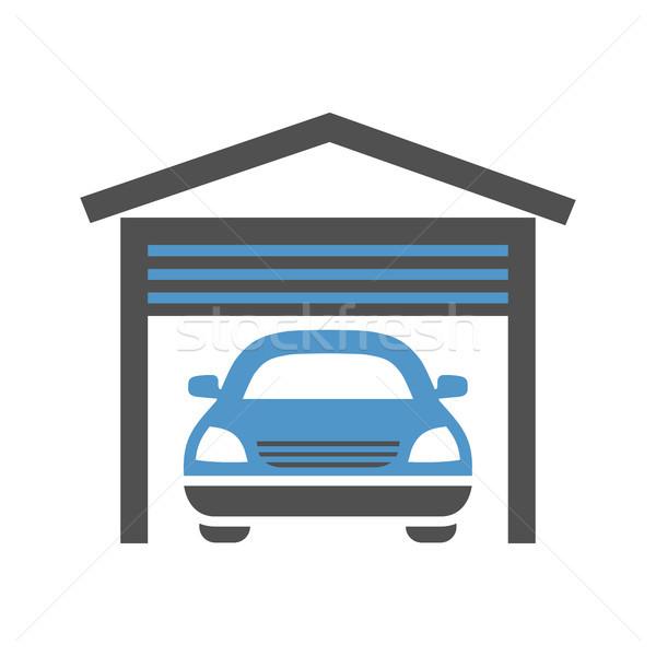 Carro serviço ícone garagem cinza azul Foto stock © Ecelop